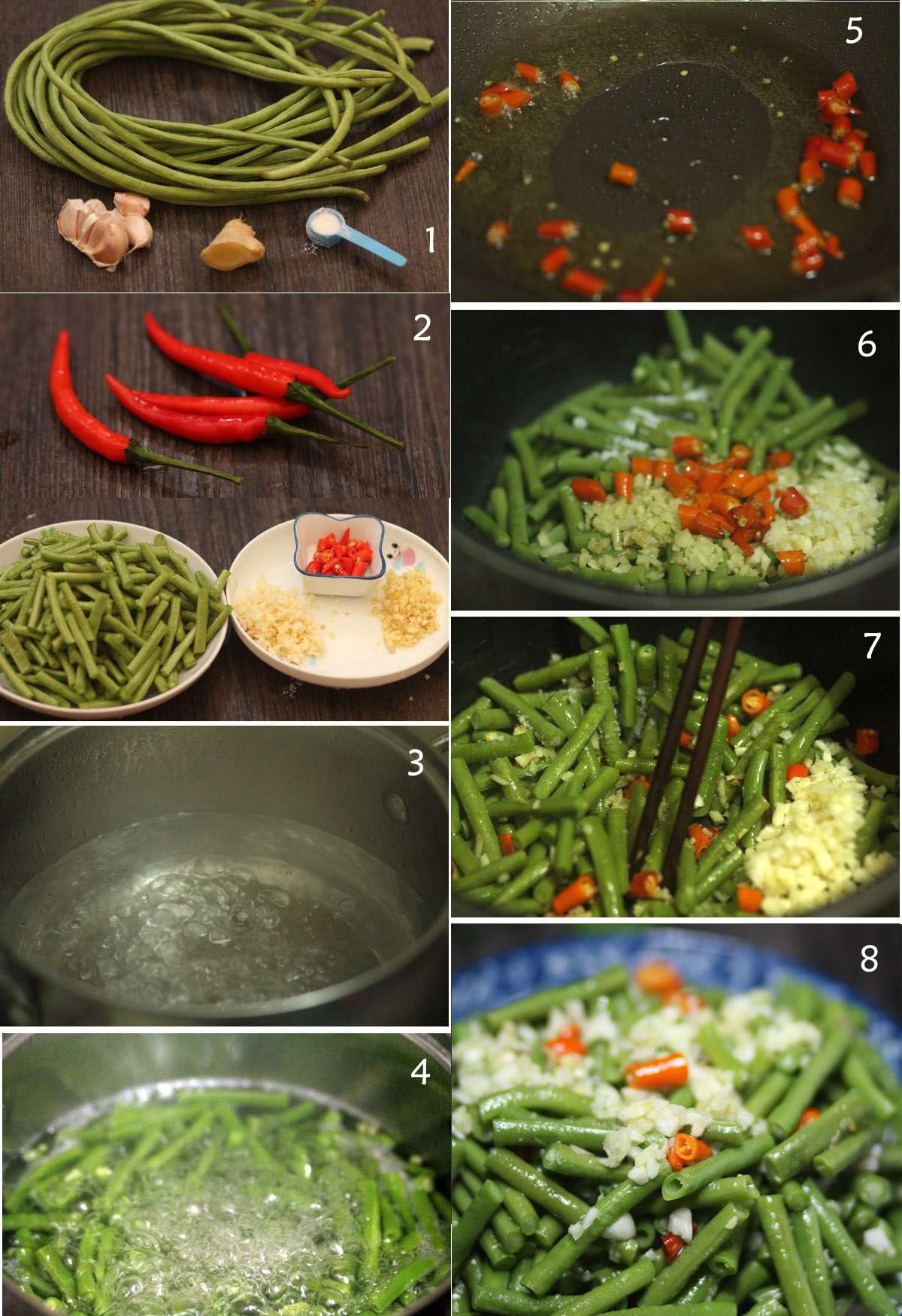 1) Ingredients: cowpea, garlic, salt,2) red chili sections, cowpea sections, , chopped garlic, ginger,3) boiling water,4) add cowpea secions,5)add chili to a wok with oil,6) cowpea, chili, garlic, giner in a bowl,7) mixed them,8) It is done