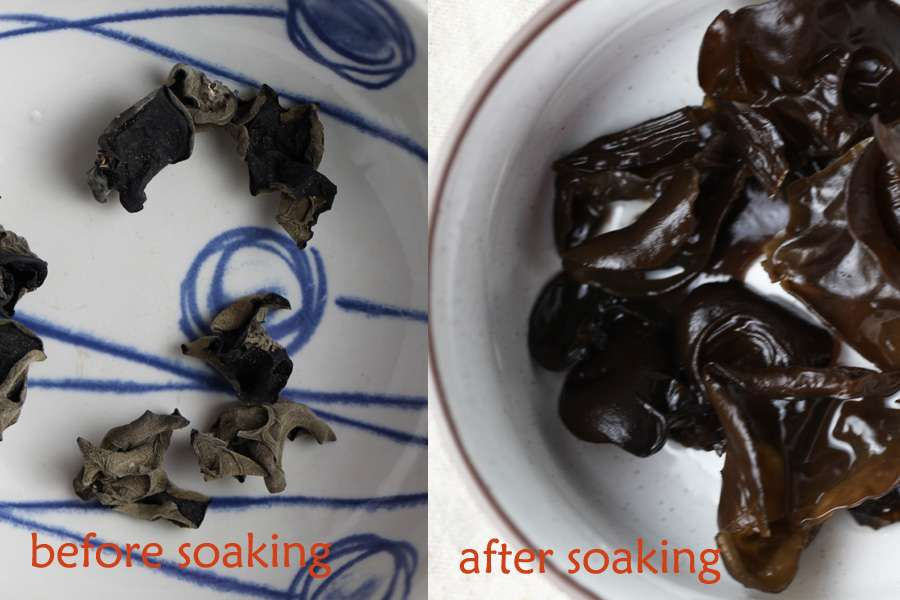 soaking wood ear mushroom, before, after