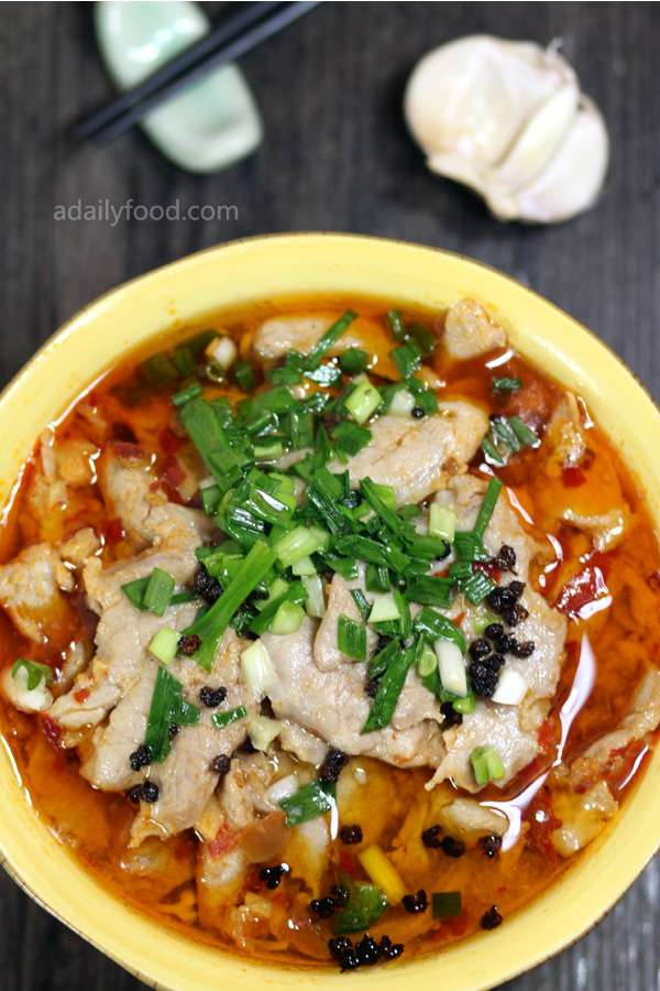 Boiled pork slices in spicy broth