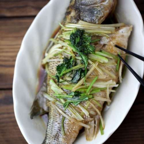 steamed perch in a white plate