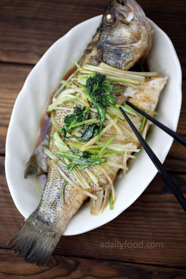 steamed perch in a serving dish