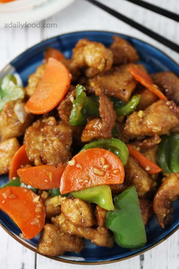 crisp fried pork with carrot and green pepper