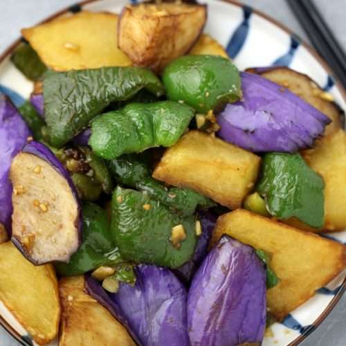 Stir-fried Potatoes, Green Pepper and Eggplant(Di San Xian)