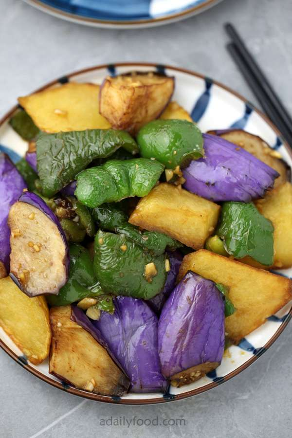 potato eggplant and green pepper in a plate