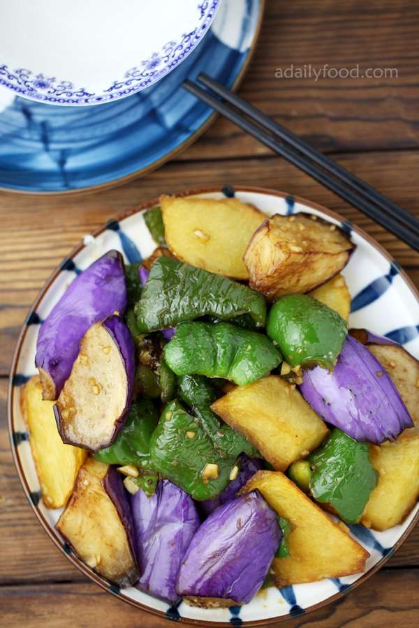potato eggplant and green pepper4 with chopsticks