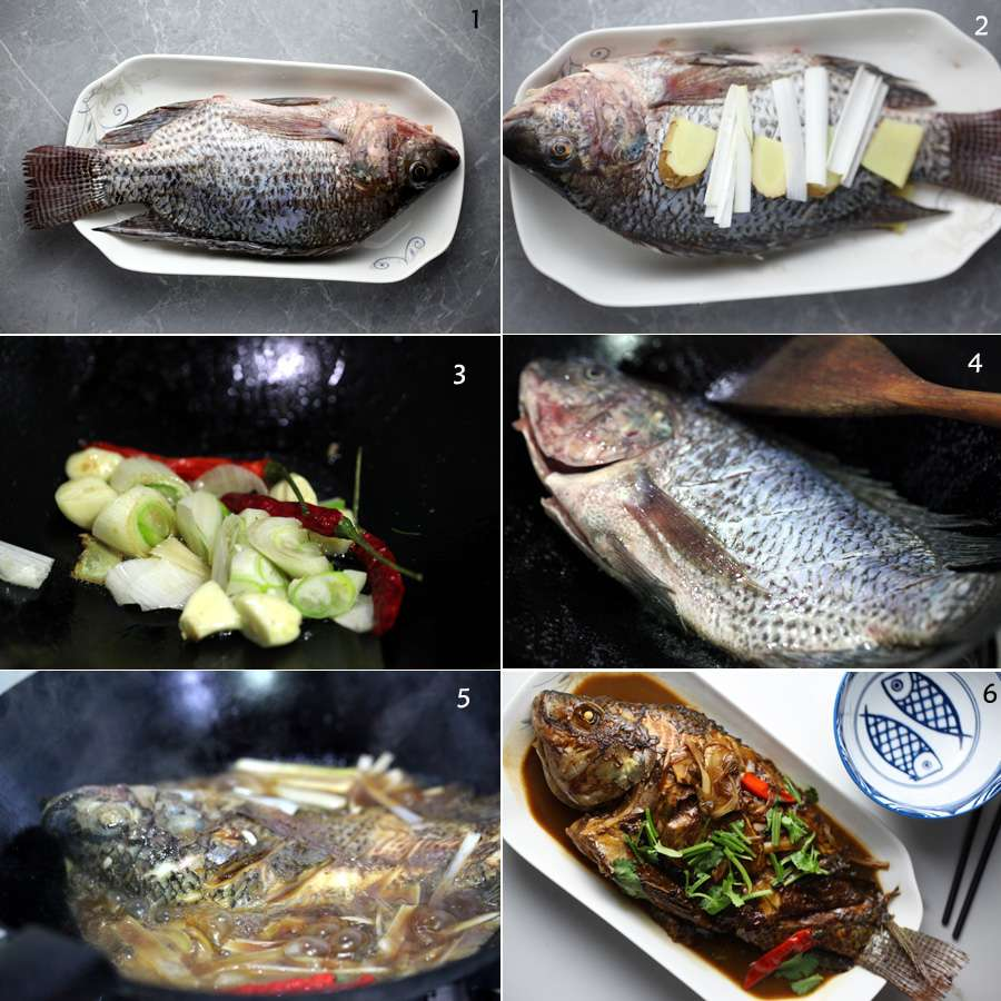 How to cook red-cooked fish, steps