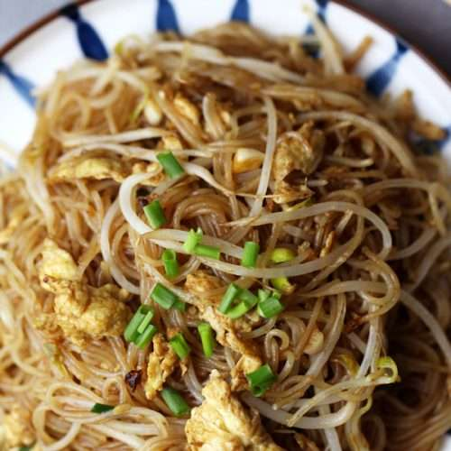 Chinese chow mei fun- rice noodles stir-fried