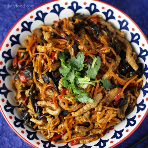 fish-flavored shredded pork in a plate