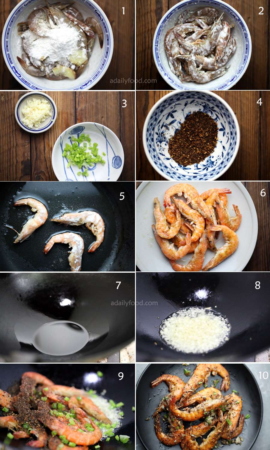 1) Ingredients: shrimp with cornstarch,ginger.cooking wine,2) mixed them,3)chopped scallion, garlic,4) pepper powder,5)pan-frined shrimp,6) transfer to a plate.7) add oil to a wok, 8) add chopped garlic,9) add shrimp, scallion, pepper powder, 10)served