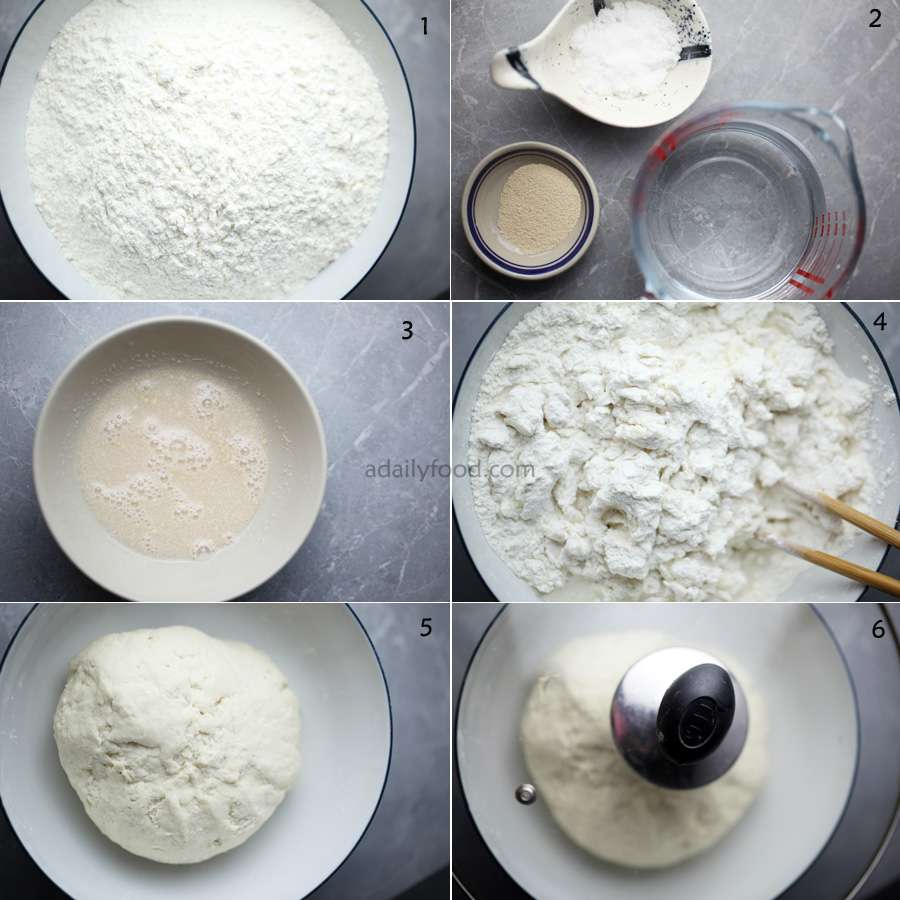 1) flour, 2) yest, sugar, water,3) yeast with water ,mixed,4) add water to flour, 5) make a dough, 6) cover with a lid