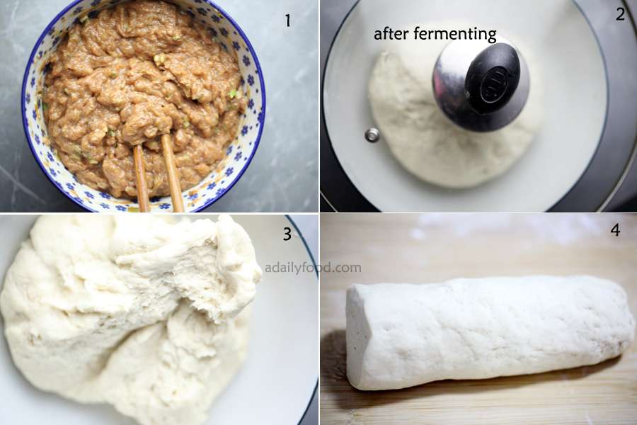 1) pork filling for buns,2) dough after fermenting,3) dough, 4) roll a cylinder