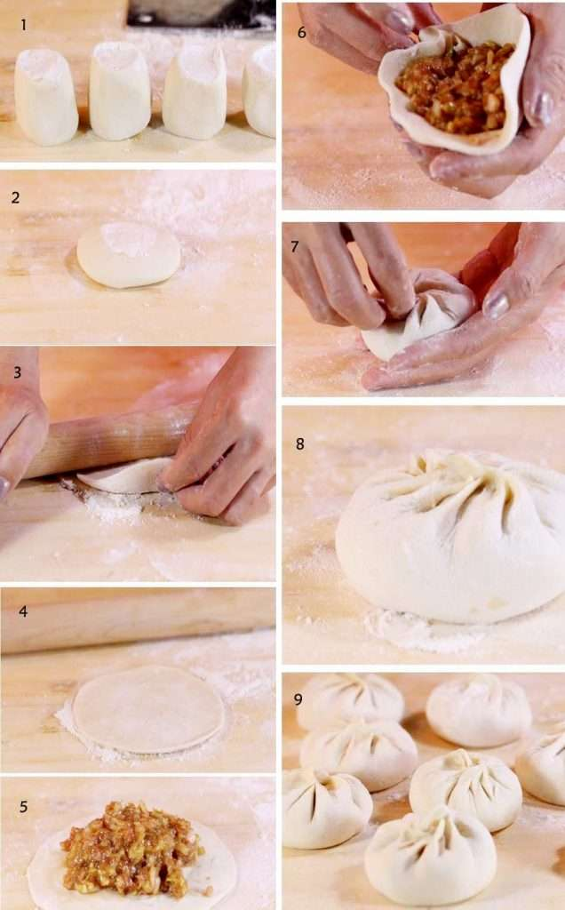 Chinese steamed buns with pork fillings steps