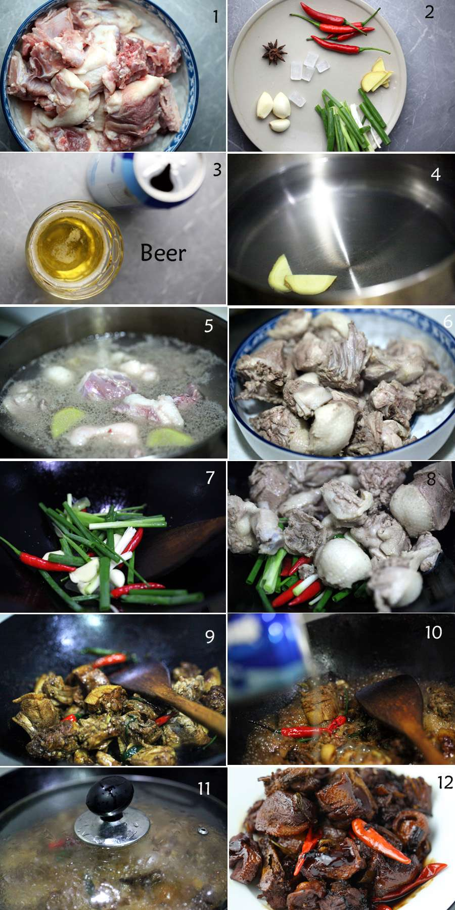 1)Ingredients: Duck pieces,2) star anise, rock sugar, small red chili, garlic, scallion secions,3)one can beer,4)add ginger to water,5) blanching duck, 6),transfer to a plate,7) add scallion, red chili, garlic to a wok, 8) add duck then stir-frying,9)add soy sauce and salt, 10)add beer,11) cover with a lid, 12) It is done.