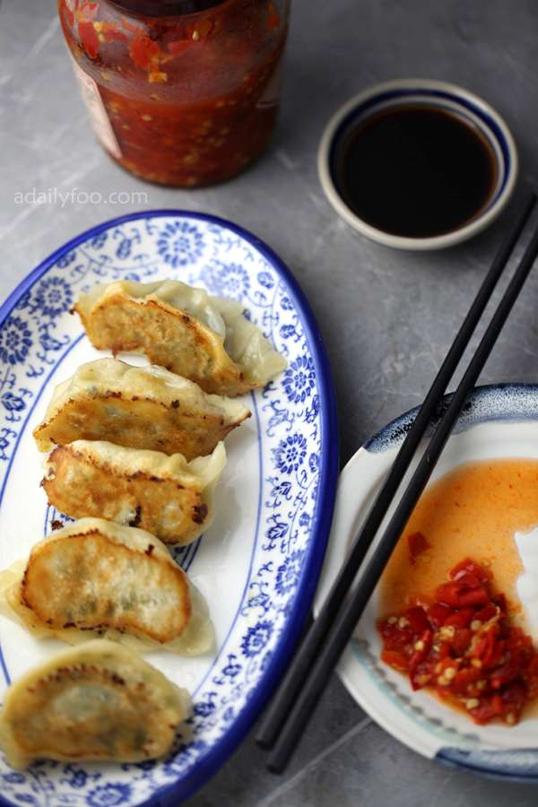 Chili paste, vinegar and delicious light fried crispy dumplings