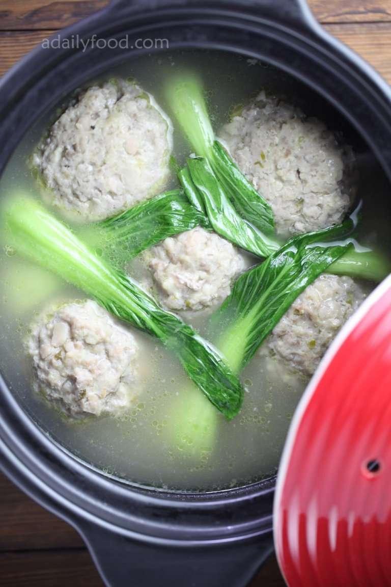 pork balls in chicken stock