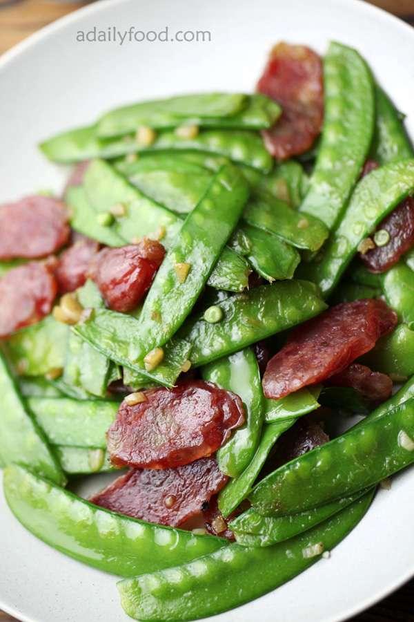 Snow Peas with Sausage Stir Fry