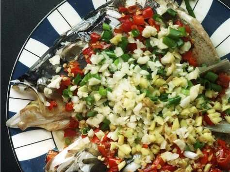 steamed fish head with red hot chilli from hunan cuisine