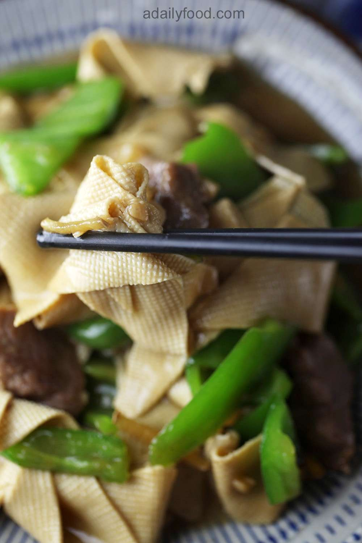 Tofu Sheet and Green Pepper Stir Fry with Pork